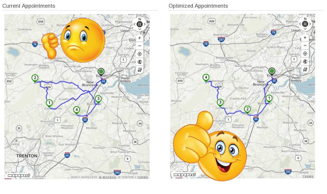 Optimize route map showing your grooming appointments in an optimized order.
